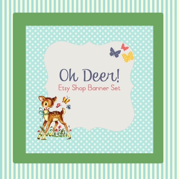 """Etsy Shop Banner Set w/ New Size Cover Photo """"Oh Deer"""" - Pre-made Cute Retro Deer Design - 6 Piece Banner Set"""