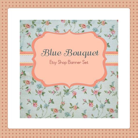 Etsy Shop Banner Set w/ New Size Cover Photo Blue Bouquet - Pre-made Vintage Style, Romantic Design - 6 PIeces - Banner, Profile Pic & More