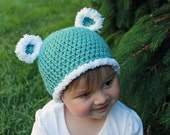 Baby Bear Hat, Crocheted Beanie Hat, sizes NB through preteen, Made to Order