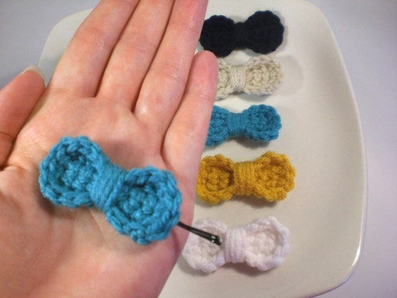 Crochet Hair Ribbons : Hair Bows Tiny Bows for Hair Crochet Hairpins by MetsyMade