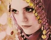 Dancer, giclee print, beautiful woman belly dancer, head bangles, green eyes, portrait, art