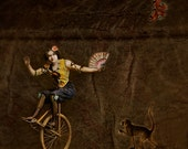 Circus Girl - instant download, digital file, monkey, monocycle, digital collage, quirky
