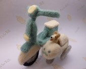 Needle felted corgi dog on scooter with side car in turquoise and white