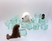 Needle felted polar bear, seal and penguin nesting dolls set of 3