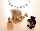 Needle felted Elephant, Bear and Rabbit Matryoshka nesting dolls set of 3