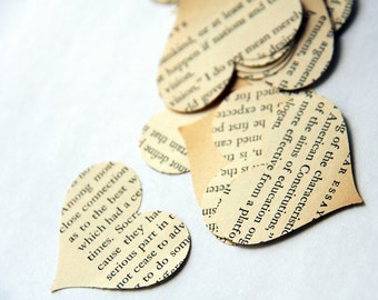 Storytale endings - medium size heart confetti from vintage story books 50 count