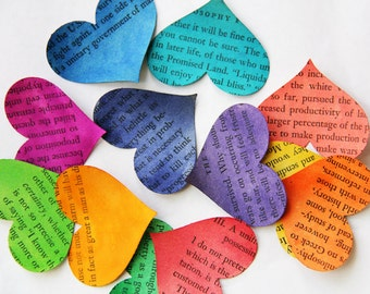 Storytale endings - medium size handpainted YOU-pick color heart confetti from vintage story books 25 count