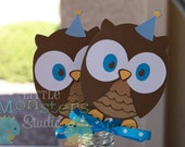 Look Whoo's Turning Inspired Boy Owl Die Cut Centerpiece / Cake Topper