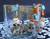 Day of the Dead/ Santa Muerte Skull Rosary Unisex Necklace - Orange & Blue Turquoise Mother of Pearl