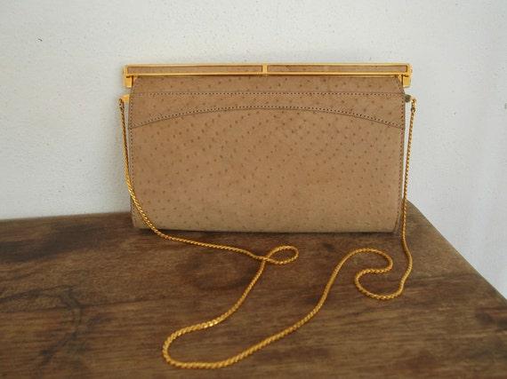 Vintage Ostrich Leather Shoulder Hand Bag