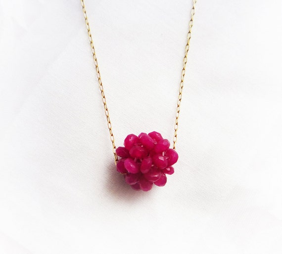 Ruby necklace, gold necklace, Ruby Jage gemstone necklace, ball pendant necklace, July Birthstone, delicate.