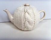 Knitted Tea Cosy For a Medium Tea Pot Cream Chunky Cable Knit Tea Cozy Chunky Knit Cream Tea Cosy Cream Cable Knit Cosy Chunky Wool Cozy