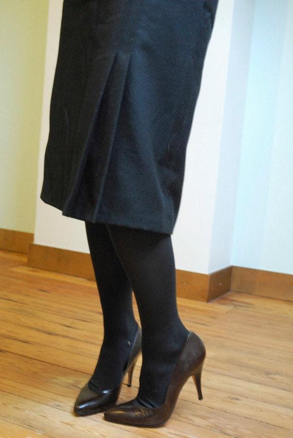 1950s Belgian Black Wool Classic Vintage Pencil Skirt - Large Size