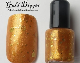 Gold Digger Nail Polish 8ml Vegan - Glitter Polish