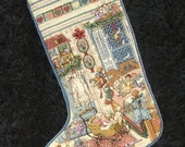SPECIAL ORDER Finished Completed Cross Stitch Christmas Stocking. Little GIRLS Room Dolls,Teddys,& Toys. Fully Lined,Ready To Hang.