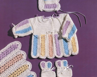 PDF Pattern - Mile-A-Minute Baby Set! Matching Blanket~Cardigan~Sweater~Bonnet~Booties~Hooded Cape. Quick Crochet For Baby. Instant Download
