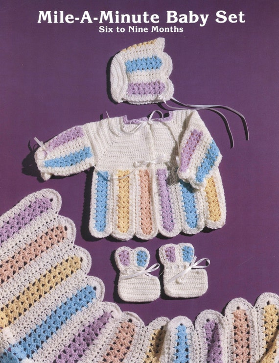 Crochet Stitches Mile A Minute : PDF Pattern - Mile-A-Minute Baby Set! Matching Blanket~Cardigan ...