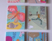 Six Mixed Greetings Cards with Envelopes - Women, Flowers and Birthday Cake