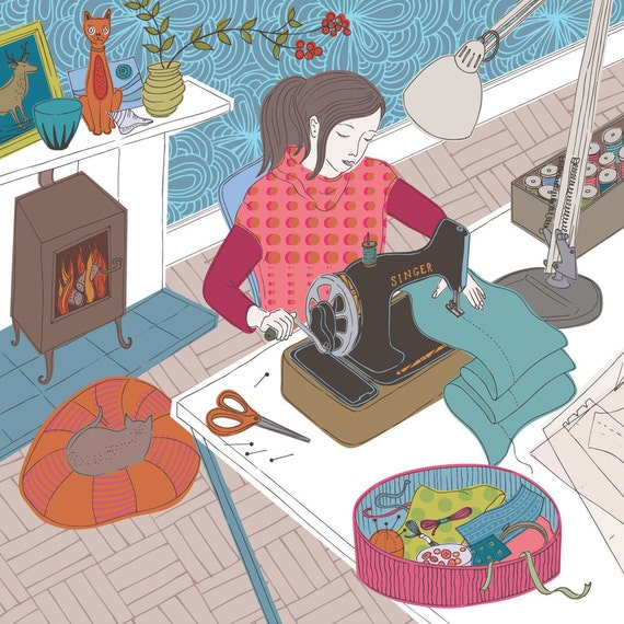 Girl at Sewing Machine -  limited edition print of an illustration