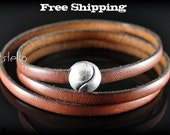 Leather bracelets - Wrap around bracelet - Silver color magnetic clasp - Mens bracelets - Women wristband - Unisex Gift - Genuine - Quality