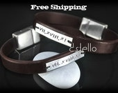 Sterling Silver ID - Custom Leather Bracelet - Roman - Name - Word - Date - Hand stamped - Gift - Genuine - Magnetic - Unisex - REF: 3A-I