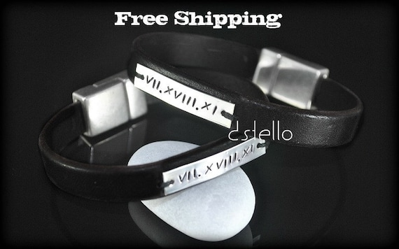 FREE SHIPPING - Jewelry, Men,Sterling Silver ID leather bracelet, Roman, Name, Date, Unisex Custom bracelet, Personalized gift, Hand stamped