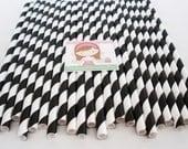 75 BLACK STRIPE Paper Straws.....Retro, Vintage, Paper Drinking Straws, Cake Pop Sticks, Wedding, Birthdays, School Events, Parties