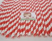50 RED & WHITE Stripe Paper Straws.... w/ DIY Blank Printables....Paper Drinking Straws....Cake Pop Sticks.... Retro, Wedding, Birthdays