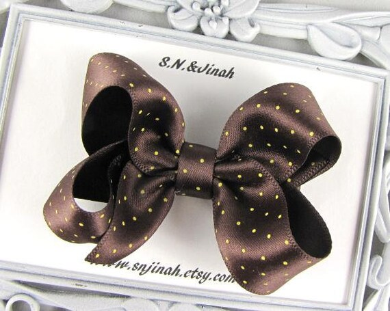 "3"" Boutique Baby Toddler Hair Bow -Coffee Brown Satin Ribbon"