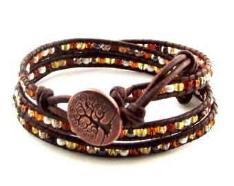 Triple Leather Wrap Bracelet