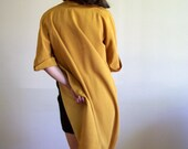 Vintage Mustard Yellow Coat - jacket with brass clasp closure