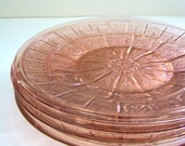 Four Antique Pink Depression Glass Doric and Pansy Pattern Bread and Butter Plates