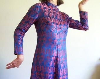 Vintage satin brocade dress - Walk like an Egyptian cocktail party dress