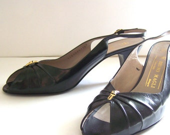 Vintage Bruno Magli 1970s Italian black slingback shoes - NEVER WORN