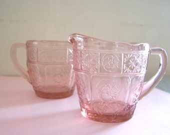 Pink Depression Glass Cream and Sugar Jeannette Doric and Pansy Pattern from Children's Set