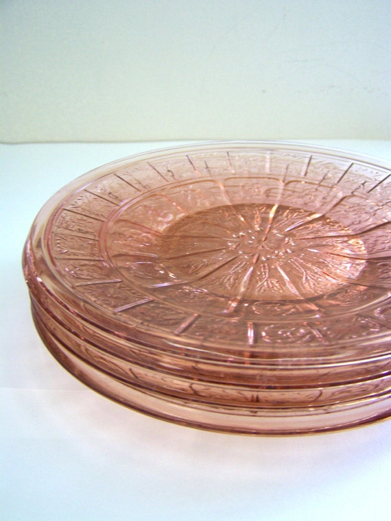 Four Antique Pink Depression Glass Doric And Pansy Pattern