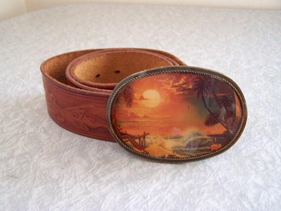 Vintage boho tooled leather belt with buckle