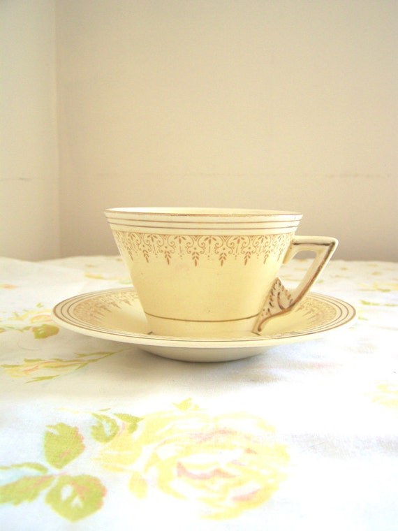 Art Deco 1930s Burleigh butter cream yellow with gold teacup and saucer by Burgess & Leigh of England