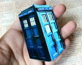 Doctor Who Inspired TARDIS Sticker BIG Blue Police Box - 4 inch tall 1 Large Handmade Decal