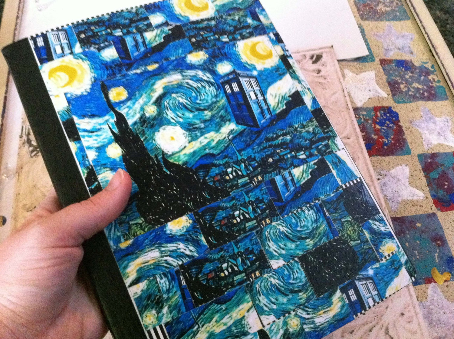 Van Gogh Tardis http://www.etsy.com/listing/95237365/doctor-who-inspired-tardis-starry-night
