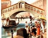 Italy Venice Rialto Bridge Vintage Travel Poster Digital Image Download  No. 4758