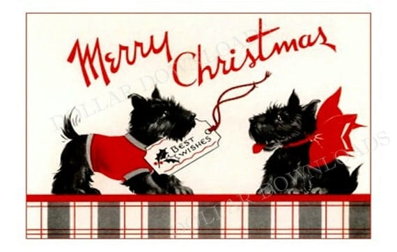 Christmas Scotty Dogs Wish You Merry Christmas Antique Postcard Digital Image Download No. 1801