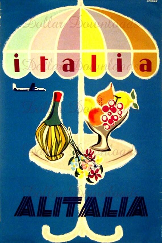 Italia Italy Alitalia Airline Vintage Travel Poster Digital Image Download  No. 4907