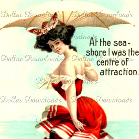 Vintage Bathing Beauty - At the Seashore I Was The Centre of Attraction - Digital Image Download No.1212