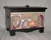 Storage Trunk, Country Design with cat wallpaper border handmade from solid pine