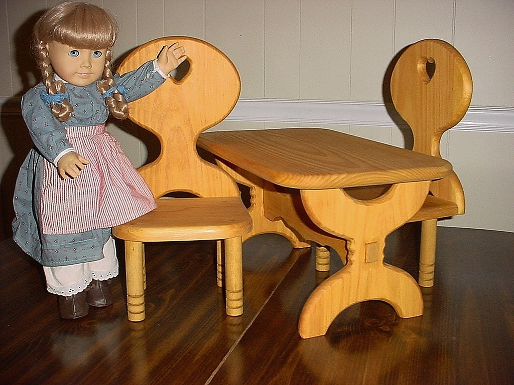 american girl doll table and chair set or all by keatingwoodcraft. Black Bedroom Furniture Sets. Home Design Ideas