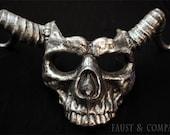 Skull Mask Long Horns Metallic Pewter
