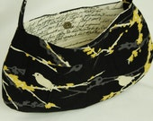 Black buttercup bag with sparrows, script lining--World Vision fundraiser