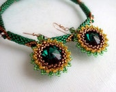 FREE SHIPPING - Jewelry Set of Bracelet and Earrings. Swarovski Emerald Green Rivoli and Crystals. Summer fashion..