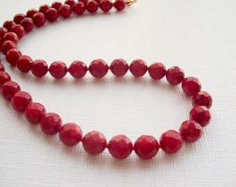 Natural Red Coral Beaded Necklace. Cranberry Beads Classic Necklace. Valentine Day jewelry.